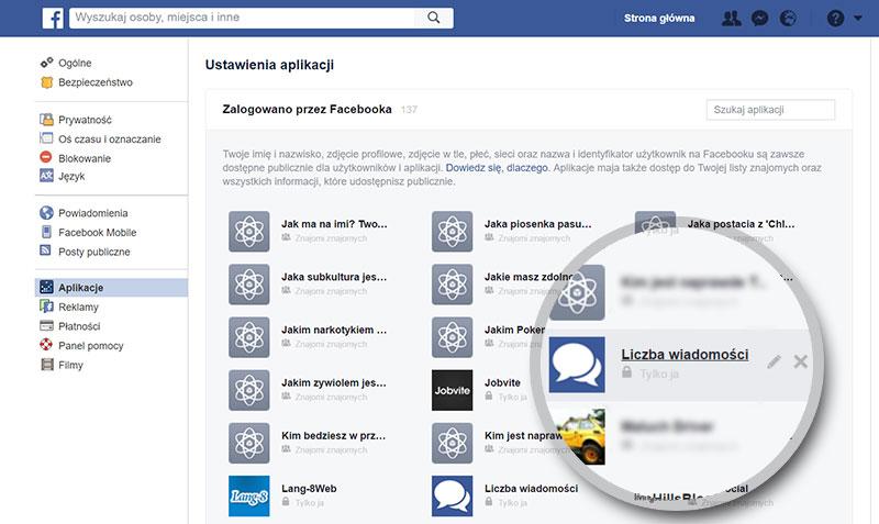przykład wirusa na facebooku